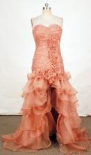 Popular High-low Sweetheart-neck Floor-length Orange Beading Prom Dresses Style FA-C-146