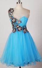 Pretty A-line One Shoulder Mini-length Aqua Prom Dress LHJ42816