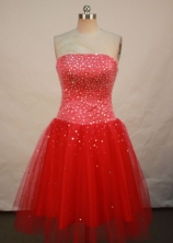 Pretty A-line Strapless Tea-length Prom Dresses Beading Style FA-Z-00159