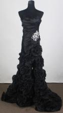 Pretty Empire Sweetheart Brush  Black Prom Dress LHJ42887