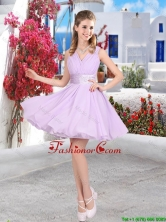 Pretty Mini Length Belt Chiffon Prom Dresses with V Neck BMT061FFOR