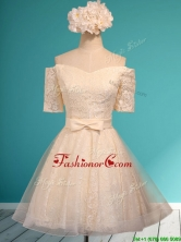Pretty Off the Shoulder Short Sleeves Champagne Prom Dress with Bowknot BMT0123AFOR