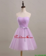 Pretty Ruching and Belt Short Prom Dresses in Lilac for 2016 DBEES295FOR
