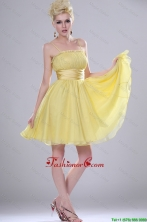 Pretty Yellow Mini Length Prom Dresses with Spaghetti Straps DBEE313FOR