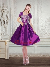 Purple Strapless Embroidery and Beading Discount Prom Dresses with Cap Sleeves QDZY258TZCFOR