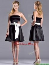 Romantic A Line Strapless White Be-ribboned Short Prom Dress in Black  THPD023FOR