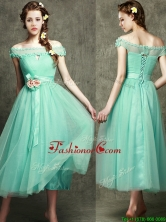 Romantic Off the Shoulder Cap Sleeves Prom Dress with Appliques and Hand Made Flowers BMT095EFOR