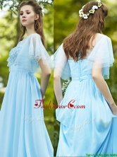 See Through Bateau Short Sleeves Prom Dress with Appliques BMT0110BFOR