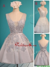 See Through Deep V Neckline Prom Dress with Appliques and Belt BMT0124FOR