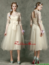 See Through High Neck Half Sleeves Prom Dress with Lace and Bowknot BMT097EFOR