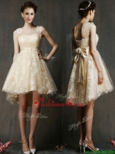 See Through Scoop Champagne Prom Dress with Hand Made Flowers and Bowknot BMT0119AFOR