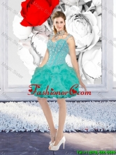 Sexy Ball Gown Beaded Prom Dresses with Straps in Turquoise QDDTA116003-1FOR