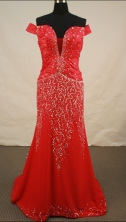 Sexy Empire Off The Shoulder Neck Brush Prom Dresses Beading Sequins Style FA-Z-00138