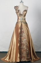 Sexy Empire One Shoulder Floor-length Gold Prom Dress LHJ42815