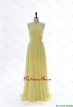 Simple 2016 Scoop Chiffon Yellow Prom Dresses with Sweep Brain DBEES003FOR