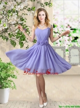 Simple 2016 Straps Hand Made Flowers Prom Dresses BMT056GFOR