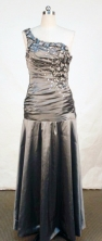Simple Column One-shoulder neck Floor-length Beading Prom Dresses Style FA-C-151