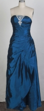 Simple Column Strapless Floor-length Navy Prom Dress LHJ42877
