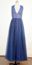 Simple Empire Halter Top neck Floor-length Navy Blue Prom Dresses Style FA-C-139