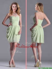 Simple Zipper Up Chiffon Yellow Green Prom Dress with Ruching THPD092FOR