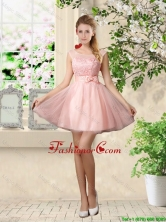 Sturning A Line Bateau Prom Dresses with Lace and Bowknot BMT037CFOR