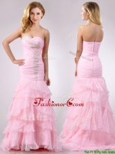 Popular Brush Train Organza Pink Prom Dress with Beading and Ruffles THPD036FOR