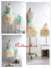 Top Selling Rolling Flowers Prom Dress with Sashes and Discount Scoop Little Girl Dress with Rolling Flowers DXZH005FOR
