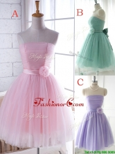 Unique Strapless Tulle Short Prom Dress with Handcrafted Flower BMT0147FOR