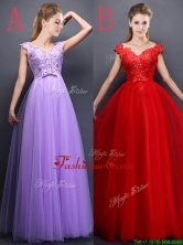 Unique V Neck Tulle Prom Dress with Beading and Bowknot BMT0158FOR
