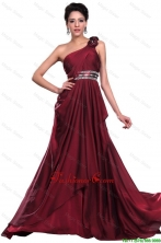 Wine Red Long Prom Dress with Beading and Hand Made Flowers DBEE376FOR