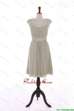 Wonderful Bateau Grey Short Prom Dresses with Beading for 2016 DBEES041FOR