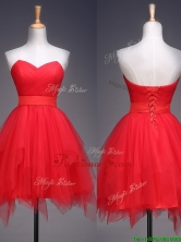 Wonderful Ruffled and Belted Short Prom Dress in Red BMT0116-1FOR