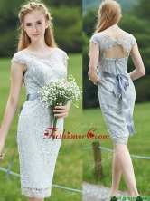 Wonderful Scoop Cap Sleeves Sashes Prom Dress in Grey BMT0103BFOR