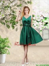 Wonderful V Neck Bowknot Hunter Green Prom Dresses with Knee Length BMT039FOR