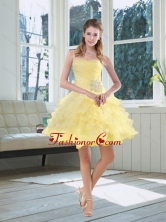 2015 Light Yellow Beading Puffy Prom Dresses with Sweetheart MQR50TZCFOR