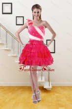 2015 One Shoulder Short Prom Gown with Ruffled Layers and Hand Made Flower XFNAO239TZBFOR