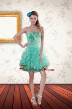 2015 Short Apple Green Prom Dresses with Appliques and Ruffles XFNAO663TZBFOR
