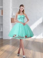 2015 Short Turquoise Sweetheart Prom Dresses with Embroidery QDZY590TZCFOR
