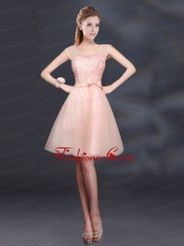 2015 Sturning A Line Belt Prom Dress with Scoop BMT011CFOR