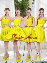 2016 Summer Simple One Shoulder Prom Dresses in Yellow Green BMT001-9FOR