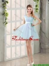 2016 Summer V Neck Strapless Short Prom Dresses with Bowknot BMT014C-6FOR