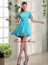 A Line Ruching and Belt V Neck Prom Dress with Cap Sleeves BMT020DFOR