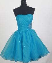 Affordable Short Strapless Knee-length Aqua Blue Prom Dress LHJ42856