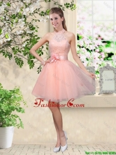 Artistic Halter Top Appliques and Laced Prom Dresses in Baby Pink BMT042BFOR