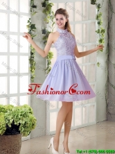 Beautiful A Line High Neck Lace Prom Dresses with Lavender BMT010A-1FOR