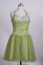 Beautiful A-line Halter Top Knee-length Short Prom Dresses Sequins Beading Style FA-Z-00156