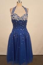Beautiful A-line Halter Top neck Knee-length Royal Blue Appliques Short Prom Dresses Style FA-C-161