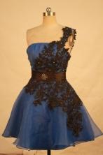 Beautiful A-line One-shoulder neck Mini-length Blue Appliques Short Prom Dresses Style FA-C-206
