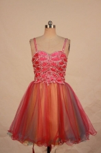 Beautiful A-line Strap Mini-length Organza Red Beading Short Prom Dresses Style FA-C-137