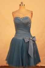 Beautiful A-line Sweetheart-neck Mini-length Blue Beading Short Prom Dresses Style FA-C-145